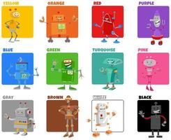 colores básicos con personajes de robots de dibujos animados vector