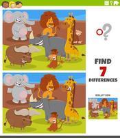 diferencias tarea educativa con animales de dibujos animados vector