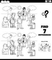 Tarea de diferencias con personas de dibujos animados página de libro para colorear vector