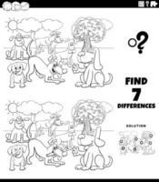Juego de diferencias con perros de dibujos animados para colorear página del libro vector
