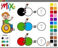 Mezclar colores tarea educativa para niños. vector