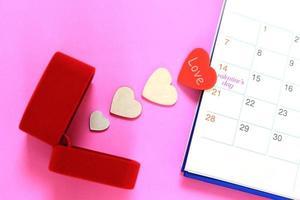 corazones de san valentin y calendario foto