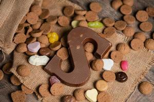 Chocolate S letter on a cloth