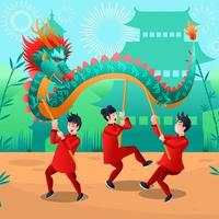 Chinese New Year Dragon Dance Festival vector