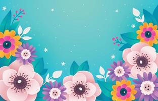 Colorful Flowers on Turquoise Background vector