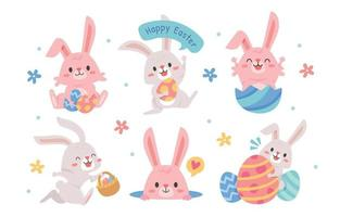 Cute Easter Bunny with A Happy Expression vector