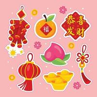 Cute Chinese New Year Sticker vector