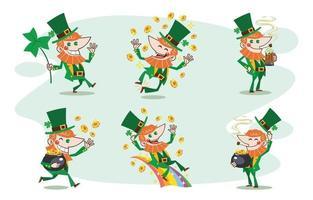 Cartoon Saint Patrick's Leprechaun Concept Characters Collection vector