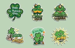 Saint Patrick's Day Clover Shamrock Stickers vector