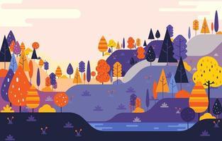 Simple Flat Landscape Background Concept vector