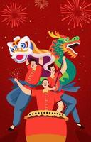 Chinese Dragon Dance vector