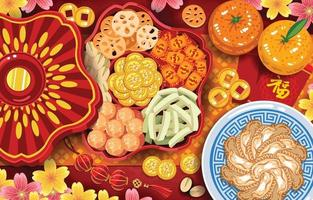 Chinese New Year Staple Foods and Delicacies Concept vector