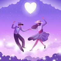 pareja baila en la estrella con luz de luna vector