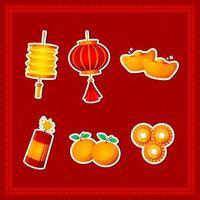 colección de pegatinas de año nuevo chino vector