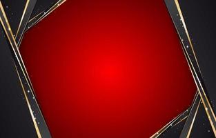 Abstract Red Background With Black And Gold Frame vector