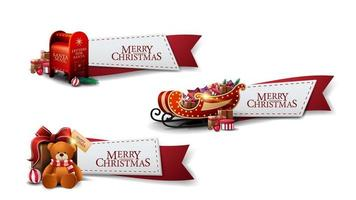 Set of Christmas greeting red ribbons with Christmas icons isolated on white background vector
