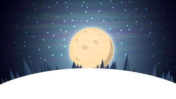 Cartoon winter landscape with spruce, blue starry sky and big full moon for your arts. Vector background with night winter landscape