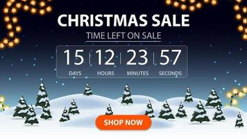 Christmas sale, discount banner with cartoon winter forest, starry sky, timer with reverse report and button vector