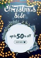 Christmas sale, up to 50 off, vertical blue discount banner with cartoon winter landscape in the form of snowball vector