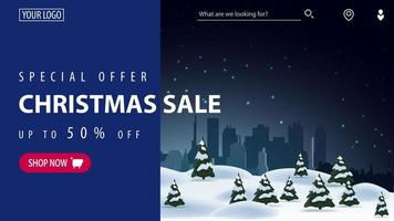 Special offer, Christmas sale, up to 50 off, beautiful blue modern discount banner for website with beautiful winter landscape on background and blue curtain for text