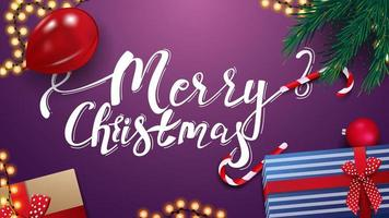 Merry Christmas, purple greeting card with presents, red balloon, garland and Christmas tree branches, top view vector