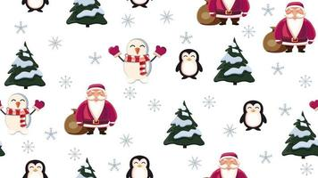 Christmas seamless texture with Santa Claus, penguin, Christmas tree, snowman and snowflakes on white background vector