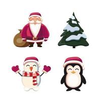 Santa Claus, Christmas tree, snowmen and penguin. Cartoon Christmas characters isolated on white background vector