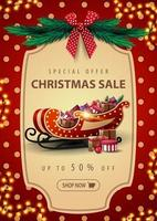 Special offer, Christmas sale, up to 50 off, beautiful discount banner with garland, red polka dot texture on background, vintage frame, christmas tree branches, red bow and Santa Sleigh with present vector
