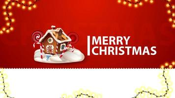 Merry Christmas, red greeting card for website with garland and Christmas gingerbread house vector