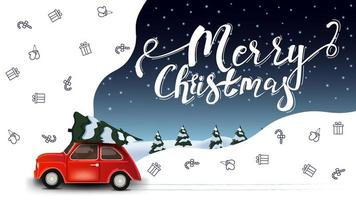Merry Christmas, beautiful white and blue greeting postcard with red vintage car carrying Christmas tree and Christmas line icons, space imagination