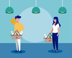 people with medical masks doing shopping in supermarket, social distancing vector
