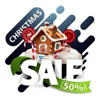 Christmas sale, up to 50 off, discount blue pop up for website with smooth abstract lines, large letters, green ribbon and Christmas gingerbread house