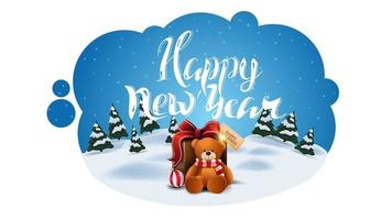 Happy New Year, greeting postcard in the form of abstract cloud with winter cartoon landscape and present with Teddy bear