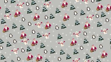 Christmas seamless texture with Santa Claus, penguin, Christmas tree, snowman and snowflakes on grey background vector