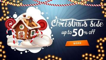 Christmas sale, up to 50 off, blue discount banner with white abstract cloud, garlands, button and Christmas gingerbread house vector