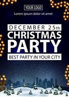 Christmas party, best party in your city, blue poster with white letters, winter landscape on background and garland