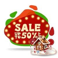 Christmas sale, up to 50 off, modern red discount banner in lava lamp style with Christmas gingerbread house