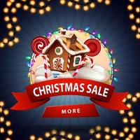 Christmas sale, round discount banner with red ribbon, button, garland and Christmas gingerbread house