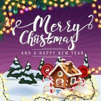 Merry Christmas and Happy New Year, purple postcard with garland, Christmas tree branches, cartoon winter landscape and Christmas gingerbread house vector