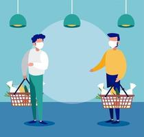 men with medical masks in the supermarket practicing social distancing vector