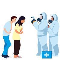 médicos con trajes de protección y pistola de termómetro que controlan el diseño del vector de temperatura de las personas