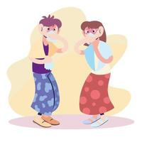 young couple with virus symptoms vector