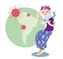 Hombre enfermo con Covid 19 en Sudamérica vector