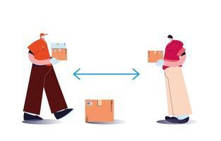 hombres con mascarillas y entregando paquetes con reglas de distancia vector