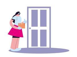 mujer con máscara, guantes y paquete para entregar en la puerta vector