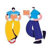 mensajero y mujer con máscaras, guantes y paquetes vector