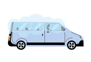 furgoneta blanca moderna para transportar personas, servicio público vector