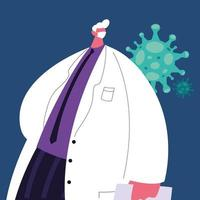 doctor wearing medical mask for covid19 vector