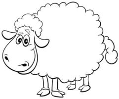 sheep farm animal character coloring book page