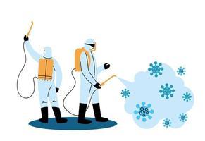 hombres con trajes protectores y desinfectantes contra el covid 19 vector